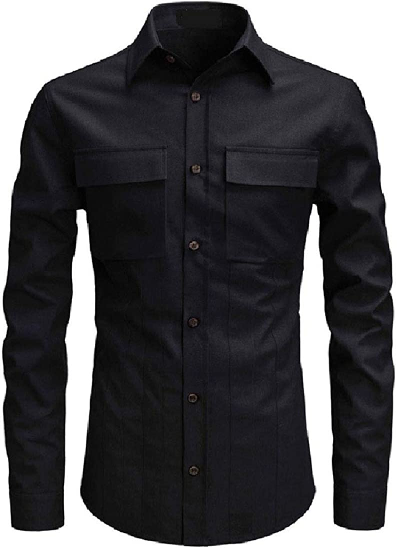 Zimaes-Men Pockets Long-Sleeve Turn Down Collar Solid Longshirt
