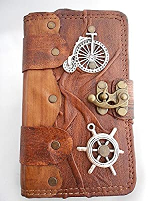 Samsung Galaxy Note 3 / Note 4 Handmade Leather Case / Galaxy Note 3/4 Cover with Steampunk Old Bike and Ship Wheel pendant,wallet phone case,galaxy note sleeve