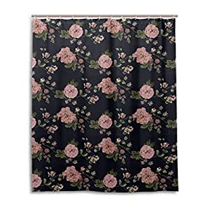 Bath Shower Curtain 60x72 Inch,Shabby Chic Court Vintage Floral,Waterproof Polyester Fabric Bathroom Curtain