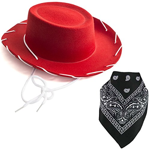 [Costume Hat - Cowboy Hat - Cowboy Costume - Cowgirl Hats w/ Paisley Bandana by Funny Party Hats] (Halloween Costumes With Red Bandana)