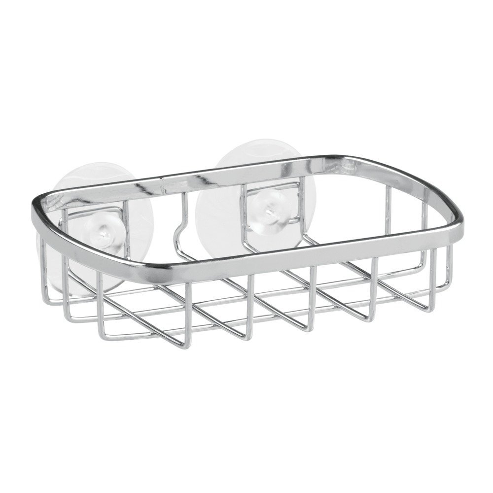 InterDesign Gia Suction Soap Dish for Bathroom or Shower – Self Draining Soap Saver - Chrome/Stainless Steel 67902