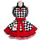 colorlifes Lovely Sweetheart Kitchen Aprons Woman Girl Cotton Cosplay Sexy Aprons Cooking Salon Pinafore Vintage Apron Dress Christmas (Poker)