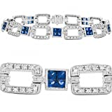Amoro 18k White Gold Sapphire and Diamond Bracelet (0.65 cttw, H-I Color, SI2 Clarity)