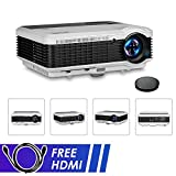 EUG 2018 LCD HD Movie Projector 1080P 3900lumens Multimedia HDMI Home Cinema Projectors for Gaming Outdoor Entertainment Backyard Theater Artwork Compatible with DVD PC Laptop Mobile Phone PS4 Wii TV
