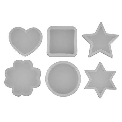 6 Tipos Círculo Cuadrado Corazón Forma de Estrella Art Decortive Molde de Silicona Decoración de La