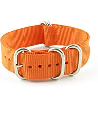Strap Ballistic Nylon Watch Band w/ 5 Rings in Polished Stainless Steel