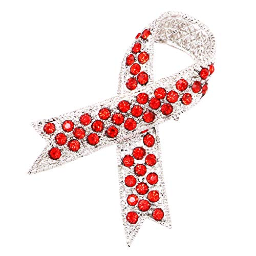 Rosemarie Collections Women's Crystal Embellished Awareness Ribbon Brooch Pin (Silver Tone/Red) -