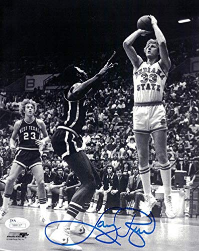 Larry Bird Autographed/Signed Indiana State Sycamores 8x10 Photo JSA