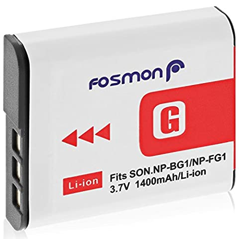 Fosmon (1 Pack) High Capacity 1400 mAh Replacement Battery for Sony NP-FG1 / NP-BG1 and (Np Fg1 Sostituzione)