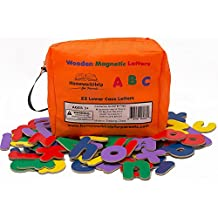 Classic Wooden, Magnetic Letters - 2 Lower Case Alphabets - Great For Preschool Reading, Writing & Spelling - Play ABC Phonics Games With This Brightly- Colored Early Learning, Educational Toy!