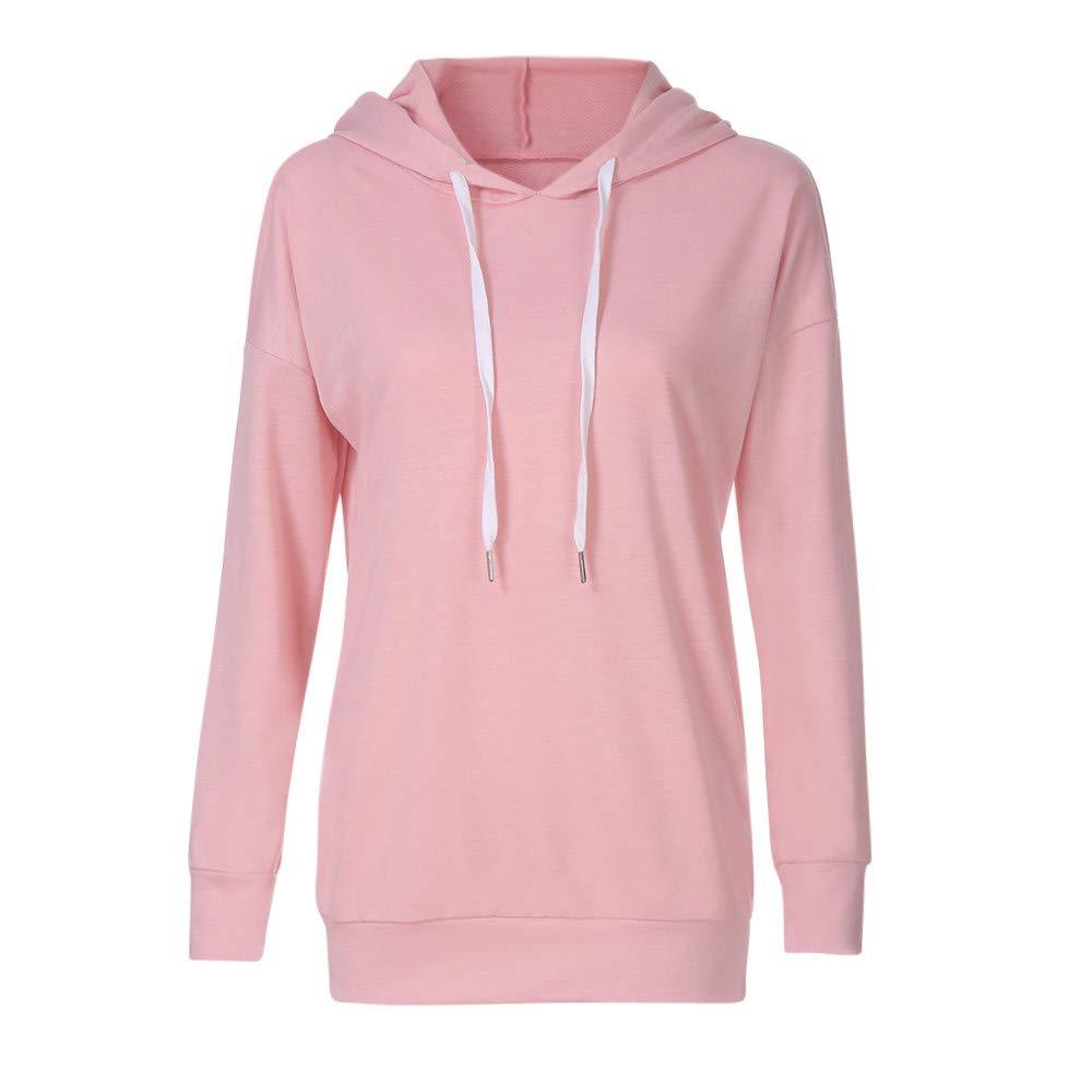 WM /& MW Women Autumn Hoodie Shirt Casual Long Sleeve Solid Long Hooded Sweatshirt Pullover Tops Jumper Blouse