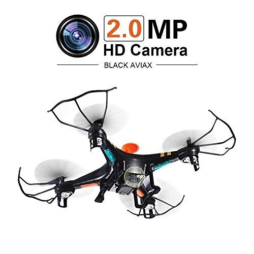 GPTOYS Black Aviax Quadcopter 6-Axis 2.4GHz RC Helicopter Drone with 3D Flip / Headless Mode/ 2MP HD Camera / LED Lights / 4G SD Card / SD Card Reader