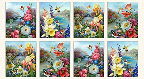 Hummingbird Bouquet Panel by Oleg Gavrilov from Elizabeth Studios 100% Cotton Quilt Fabric 9400 Cream