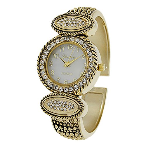 (Rosemarie Collections Women's Mother of Pearl and Crystal Embellished Studded Cuff Bracelet Watch)