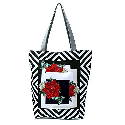 Espeedy Bolso de la lona de la cremallera de la impresión de la flor del bolso de las mujeres Bolsos ocasionales de la señora Girl 3