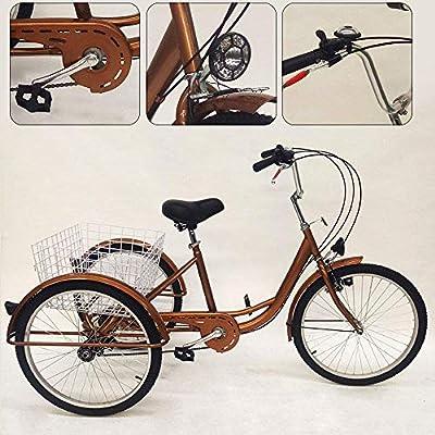 TYZXR Triciclo para Adultos de 24 con 3 Ruedas con lámpara, Triciclo de Bicicleta de 6 velocidades, Carro de Pedales con Cesta Dorada: Amazon.es: Hogar