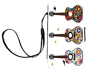 Rikki KnightTM Hippy 60's Flower Power Guitars Design Galaxy S4 PU Leather Wallet Type Flip Case with Magnetic Flap and Wristlet for Samsung Galaxy S4 i9500
