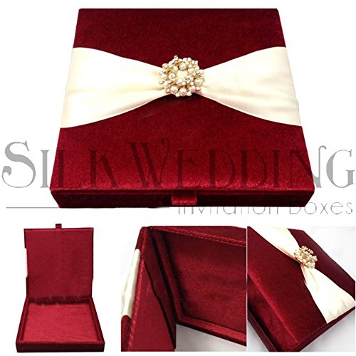 (Enticing Red Velvet Wedding Invitation Box Adorned With Ribbon and Glitzy Clasp)