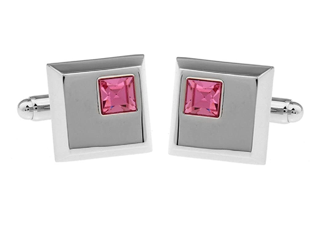 - MRCUFF Pink Crystal Pair Cufflinks in a a a Presentation Gift Box & Polishing Cloth 3257c7