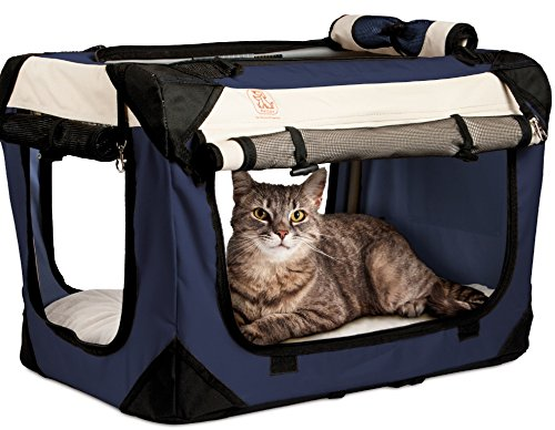 PetLuv Soothing Happy Cat Large Premium Soft Sided Cat Carrier & Travel Crate w/Locking Zippers Plush Nap Pillow 4X Interior Room Airy Windows Sunroof Reduces Anxiety