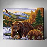 MADE4U [Animals Series 2] [20''] [Wood Framed] Paint by Numbers Kit with Brushes and Paints (Bears G351)