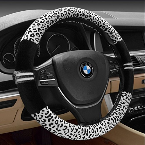 FULL WERK Luxury Leopard Print Fashionable Plush Car Steering Wheel Cover, Universal Fit, Keep Warm for Car SUV (Black+White) (Leopard Black Cover)