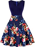 oten Women's Sleeveless V Neck Sewing Floral Print Contrast Evening Prom A Line