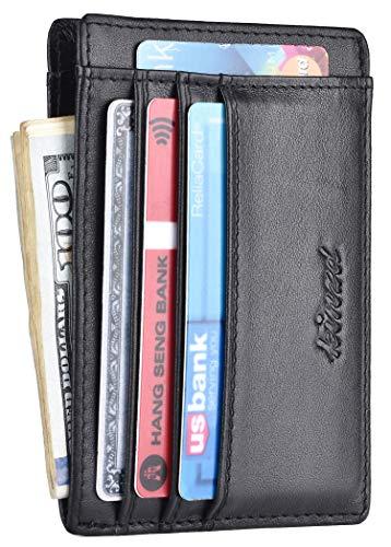 Minimalist Mens Wallet RFID Front Pocket Wallet Secure Thin Credit Card Holder (Z Double Side Black)