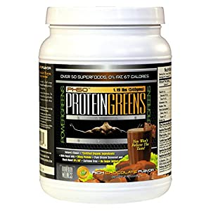 Protein Greens PowerGreens Shake, Fat Free with 50 SuperFoods, Probiotics and Digestive Enzymes in a Whey Protein Isolate Blend, Rich Chocolate Flavor, 30 Servings, 19 Ounces
