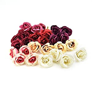fake flowers heads Bulk Silk Rose Artificial Flower Wedding Home Furnishings DIY Wreath Sheets Handicrafts Simulation Cheap Fake Flowers 30pcs 4cm (Multicolor) 60