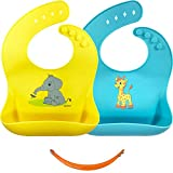 Silicone Bib Set, 2 Baby Bibs with Travel Strap, Easy Clean Drool Bibs, Silicone Baby Bib with Food Catcher, Teething Toddler Bibs, Waterproof Baby Bibs for Boys Or Girls, Silicone Bibs for Feeding