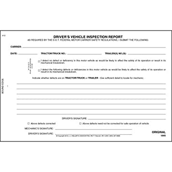 Simplified Drivers Vehicle Inspection Report 3 Ply Carbonless Book Format