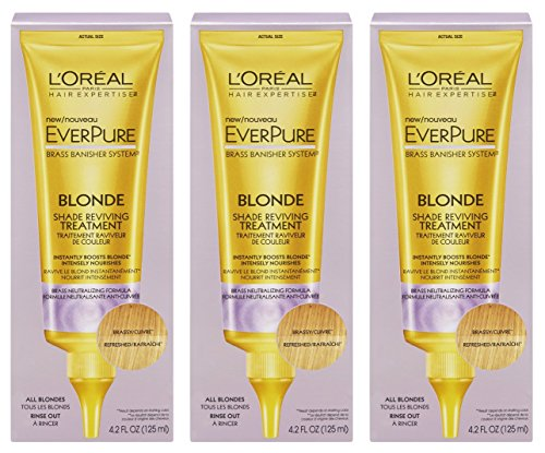 - L'Oreal Paris Hair Expertise - EverPure Brass Banisher System - Blonde Shade Reviving Treatment - Net Wt. 4.2 FL OZ (125 mL) Each - Pack of 3