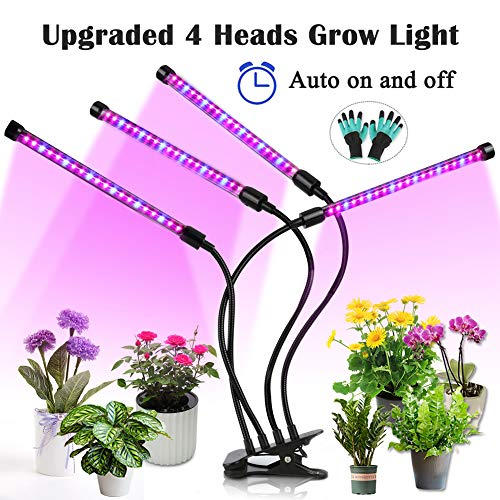 Upgraded Grow Light, 4 Heads 72pcs LEDs Plant Light for Indoor Plants, Auto ON/Off Full Spectrum Plant Grow Light, 4/8/12H Timer 5 Dimmable Levels Growing Lamp for Garden Seedling Herbs Succulent ()