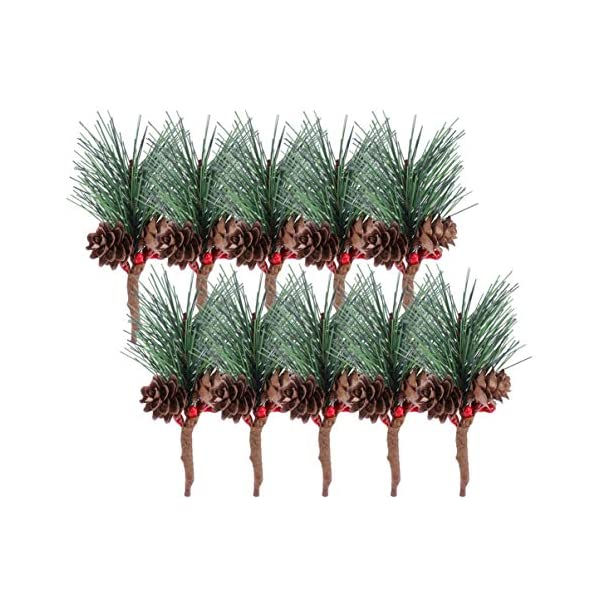 Amosfun 16pcs Christmas Pine Picks Artificial Pine Picks Christmas Flower Arrangements Wreaths Fake Berries Pinecones Christmas Tree Decorations Holiday Home Winter Decor