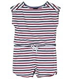 Nautica Girls' Big Fashion Romper, Patriotic Stripe White, Large (12/14)