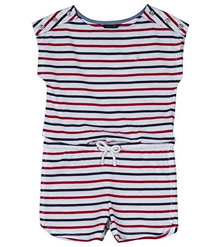 Nautica Girls' Big Fashion Romper, Patriotic Stripe White, Large (12/14) by Nautica