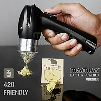 Mamba Battery Powered Electric Weed Grinder. Forward & Reverse Action. Never Jams. Easy-To-Use One-Handed Operation. Grinds the Stickiest of Medical Grade Buds. Capacity 0.5 Grams. No Mess. No Waste