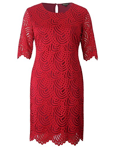 Chicwe Women's Plus Size Stretch Lined Lace Shift Dress - Knee Length Work Casual Party Cocktail Dress Red 2X by Chicwe