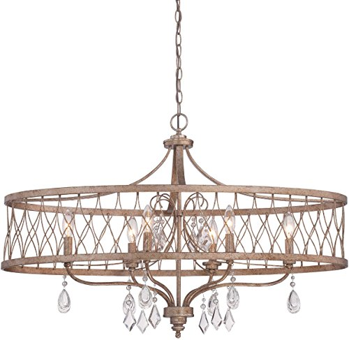 - Minka Lavery 4407-581 West Liberty LargeIsland Crystal Pendant Ceiling Lighting, 6 Light, 360 Watts, Olympus Gold