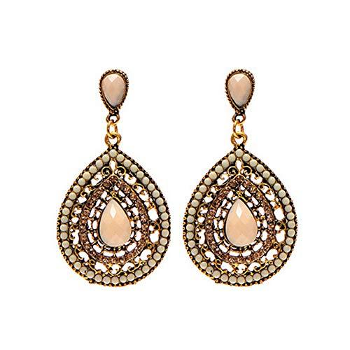 LODDD Women Bohemian Ear Studs Earrings Black Ethnic Fashion Diamond Water Droplets Jewelry Earrings