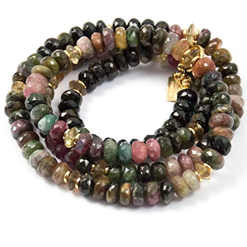 (Large Watermelon Tourmaline and Citrine Long Beaded Necklace - 34 Inches Long Handmade Necklace by Miller Mae)