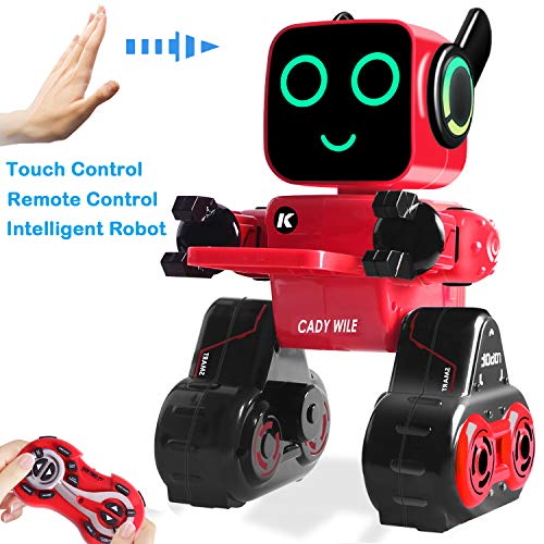 Remote Control Toy Robots for Kids Programmable Robot with Touch Control Danceing,Built-in Piggy Bank,Music,Record ,Rechargeable,Best Gift for Boys and Girls,Robots for Kids 3 and Up (Red&Black)