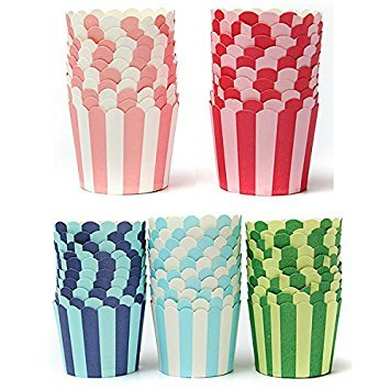 (Bazaar 50pcs Cupcake Baking Paper Stripe Muffin Cup Home Wedding Party)