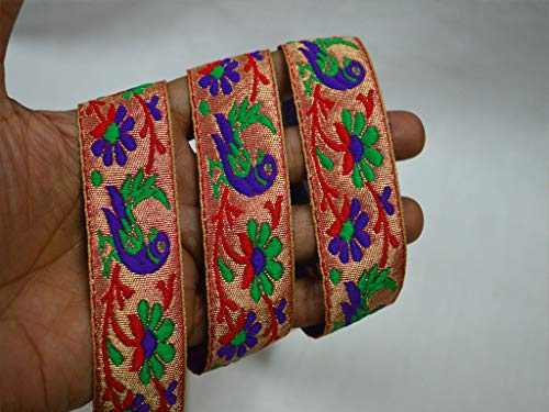 Wholesale Red Saree Decorative Ribbon Jacquard Trim by 9 Yard Metallic Trim Brocade Crafting Ribbon Trimmings Indian Jacquard Sari Border