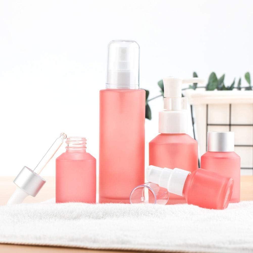 Zihaoo 5pcs Botella de Spray Vacía de Cristal Botella de Niebla Fina de Viaje Conjunto ParaPerfume/Aceite Esencial/Botella de Atomizador Cosmético-Rosa
