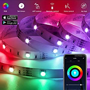 LE LED Strip Lights, WiFi Smart Color Changing LED Strips, Works wiith Alexa Google Home, 32.8ft, SMD 5050 LED Rope Light, App&Remote Controlled, Tape Light for Bedroom, Home and Kitchen (Color: Rgb (Red, Green, Blue), Tamaño: 32.8FT)