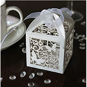 Amazon zorpia 50pcs laser cut birdcage wedding favor box zorpia new 50 pack white love butterfly laser cut favor candy box bomboniere with ribbons bridal stopboris Image collections