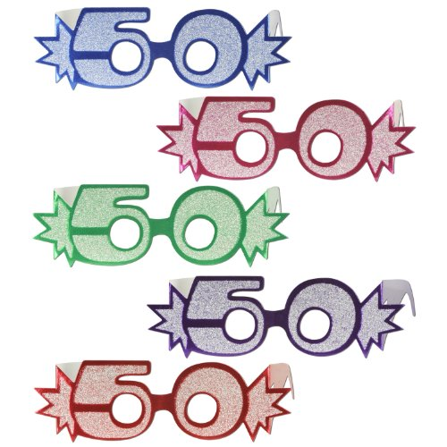 Beistle 54840-50 25-Pack'50' Glittered Foil Eyeglasses