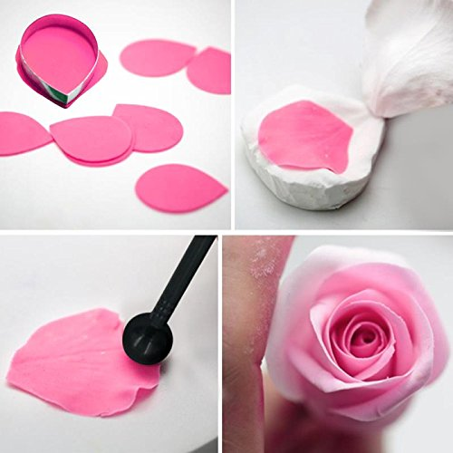 Gum Paste Flower and Leaf Tools Kit-7 Modelling Tool 4 Ball Tools 6 Frilling Stick 7 Cake Brush 6 Decorating Tools 1 Veining Board 1 Foam Pad 1 Silicone Mat 1 Flower Scissors 1 Art Knife 1 Rolling Pin by kenman (Image #4)